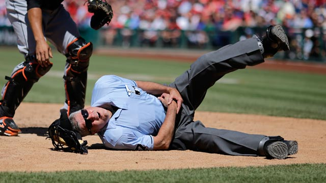 Ump exits Phils-Marlins game after being hit by pitch