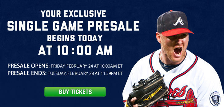 Your Exclusive Single Game Presale begins TODAY at 10:00AM