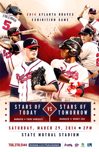 BRAVES STARS OF TODAY VS. STARS OF TOMORROW AT STATE MUTUAL STADIUM - SATURDAY, MARCH 29, 2PM