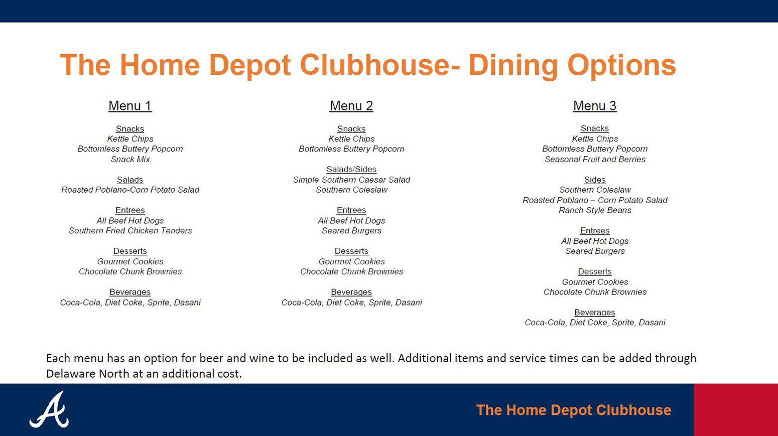 Make A Deposit View Pricing Pdf Menu Home Depot Clubhouse