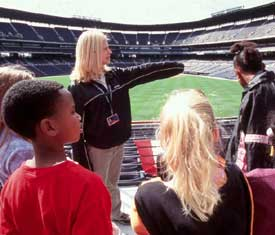 Tour Guide Points out Turner Field Attractions