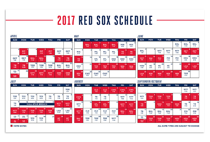 Smart image for red sox schedule printable