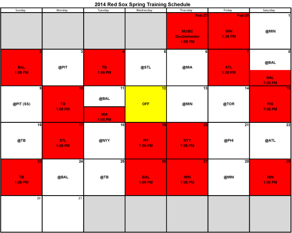 Boston Spring Training Schedule