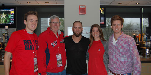 Mike Napoli poses with a family