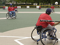 The RIC Cubs play a game of wheelchair softball at Cubs Care California Park.