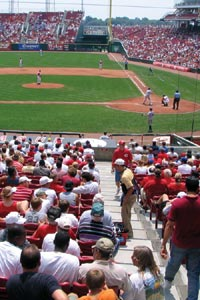 Fans enjoying a Reds game