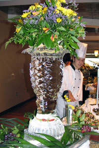 Ice sculpture with flowers