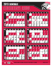 Calendar View of 2013 Season Schedule