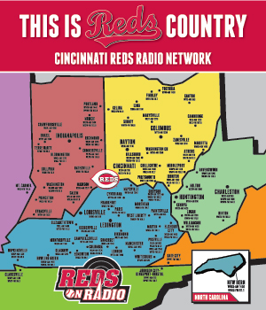 A map depicting the Reds Radio coverage and affiliates