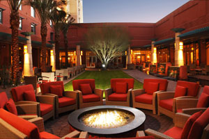 Outdoor seating area at Reanaissance Hotel