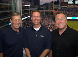 Indians Broadcasters (L to R): Mike Hegan, Matt Underwood and Tom Hamilton
