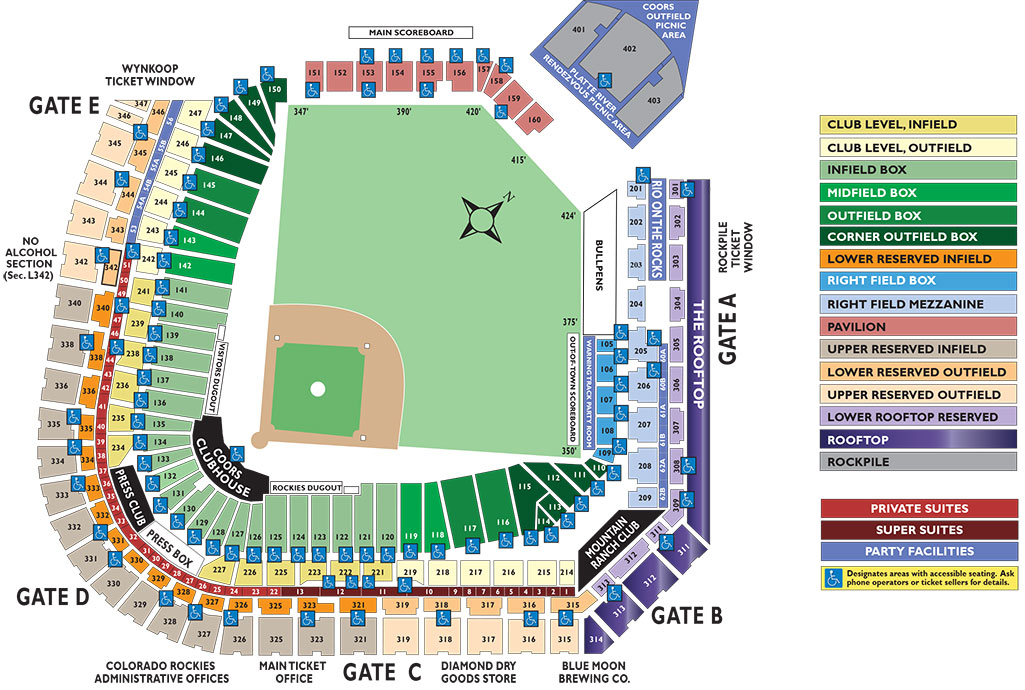 Coors field seating chart mlb com