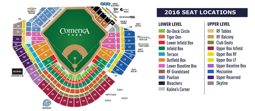 Detroit Tigers Seating Map
