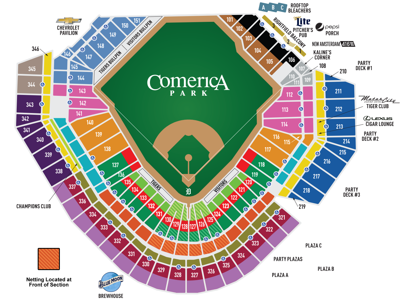 Comerica Park Seating Map MLBcom - Us cellular center seat map