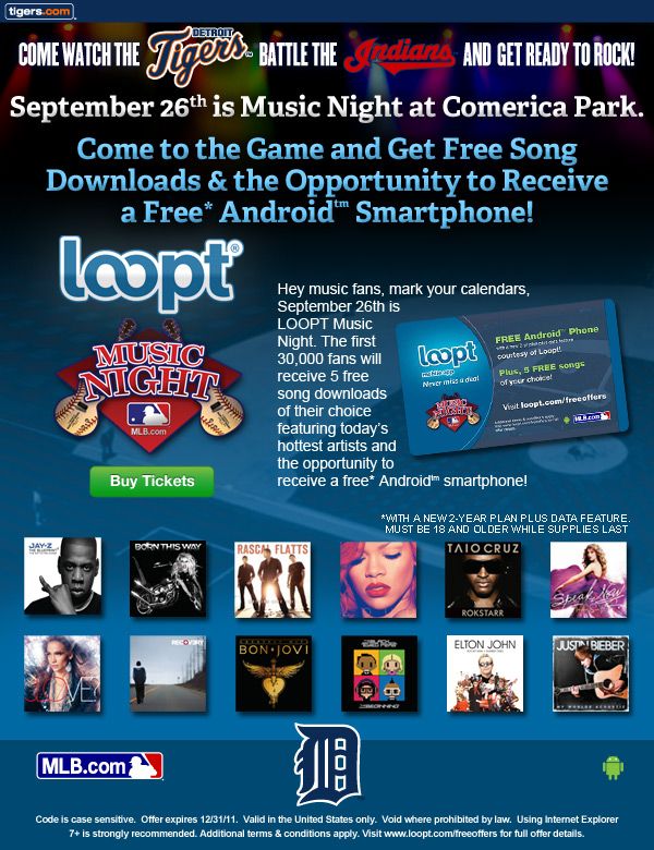 Come watch the Tigers battle the Indians and get ready to rock! September 26th is Music Night at Comerica Park. Come to the game and get free song downloads from today's hottest artists! Buy Tickets