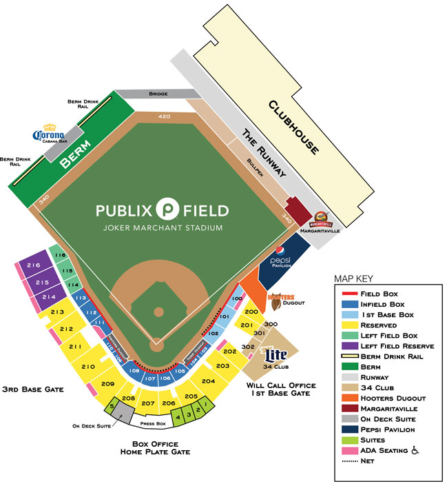 Publix Field at Joker Marchant Stadium seating map