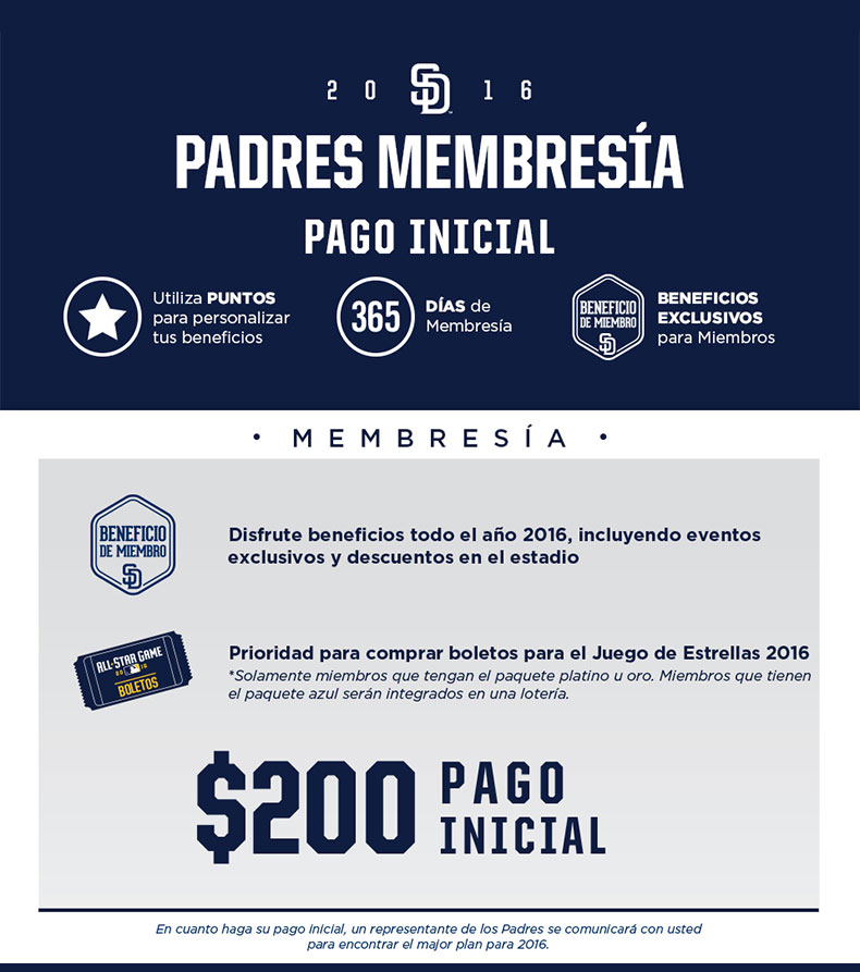 Padres Membership Initial Payment - Completely CUSTOMIZE Your Membership - Use POINTS to customize your Member Benefits - 365 DAYS of Membership - Exclusive Benefits for Members
