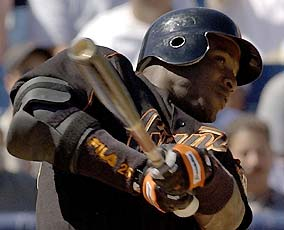 Barry Bonds hit 10 homers this spring including one against the Brewers on this swing.