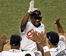 Miguel Tejada homered and was named MVP in the American League's 7-5 victory in the All-Star Game in Detroit.