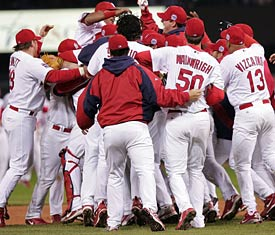 The Cardinals Celebrate On Field After Winning 2006 World Series Jed Jacobsohn Getty Images