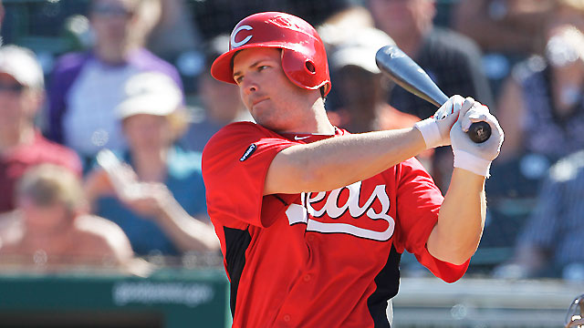 Heisey falls double shy of cycle in Reds' victory