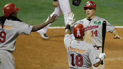 Andy Dirks (right) has been a sparkplug throughout the Caribbean Series.