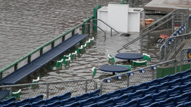 From site of severe flood, baseball field reemerges