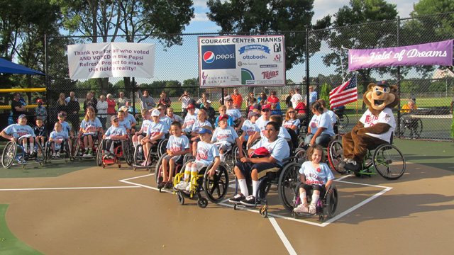 Twins help launch field dedicated to wheelchair play
