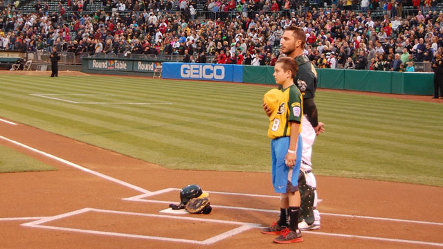 Petaluma Little Leaguers awed to join A's on field