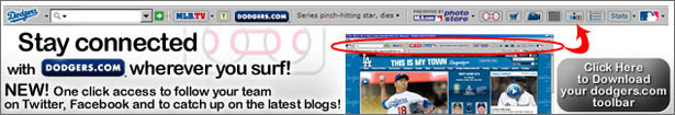 Download the FREE Dodgers Toolbar