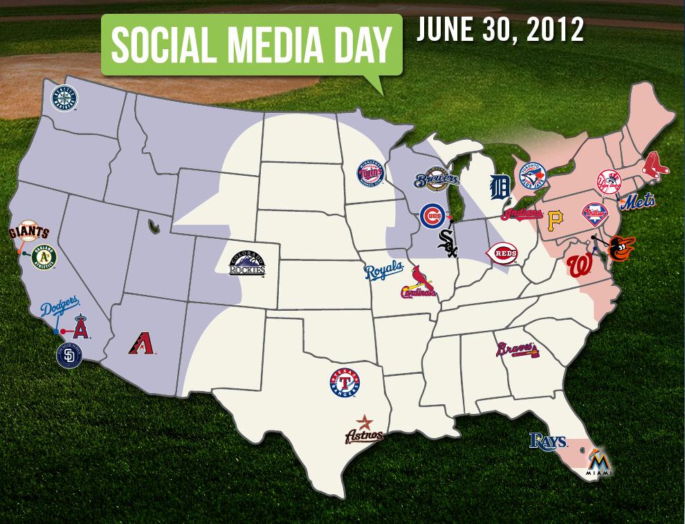 Social Media Map MLBcom - Us map of mlb teams