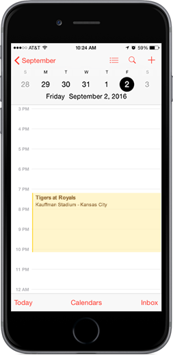 Royals Downloadable Schedule on iPhone