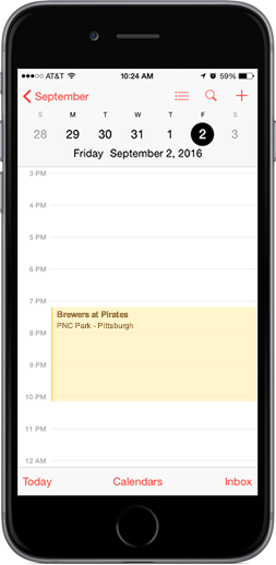Pirates Downloadable Schedule on iPhone