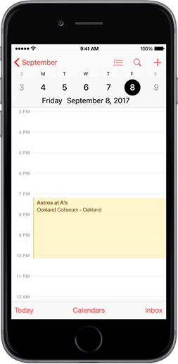 A's Downloadable Schedule on iPhone