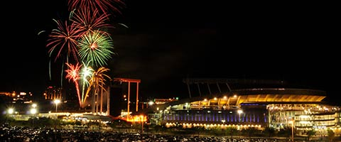 Kauffman Stadium with Fireworks