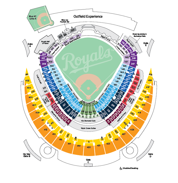 kansas city royals stadium seating chart: Kauffman stadium seating map mlb com