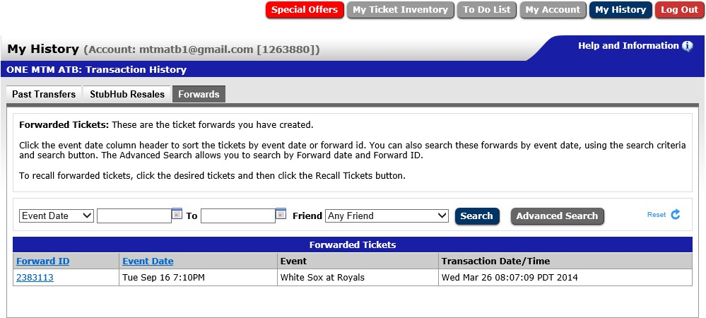 Ticket Recall: Step #1