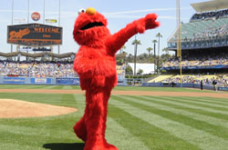 Elmo throws out first pitch May 3