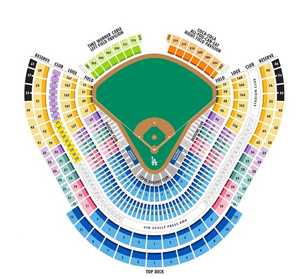 dodgers seating map mlb