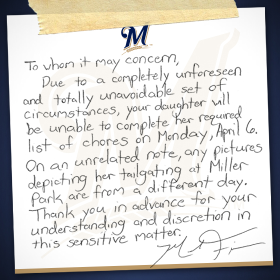 My Brewers Opening Day Excuse | Milwaukee Brewers