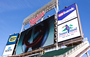 Mark your special occasion with a message on the Target Field scoreboard.
