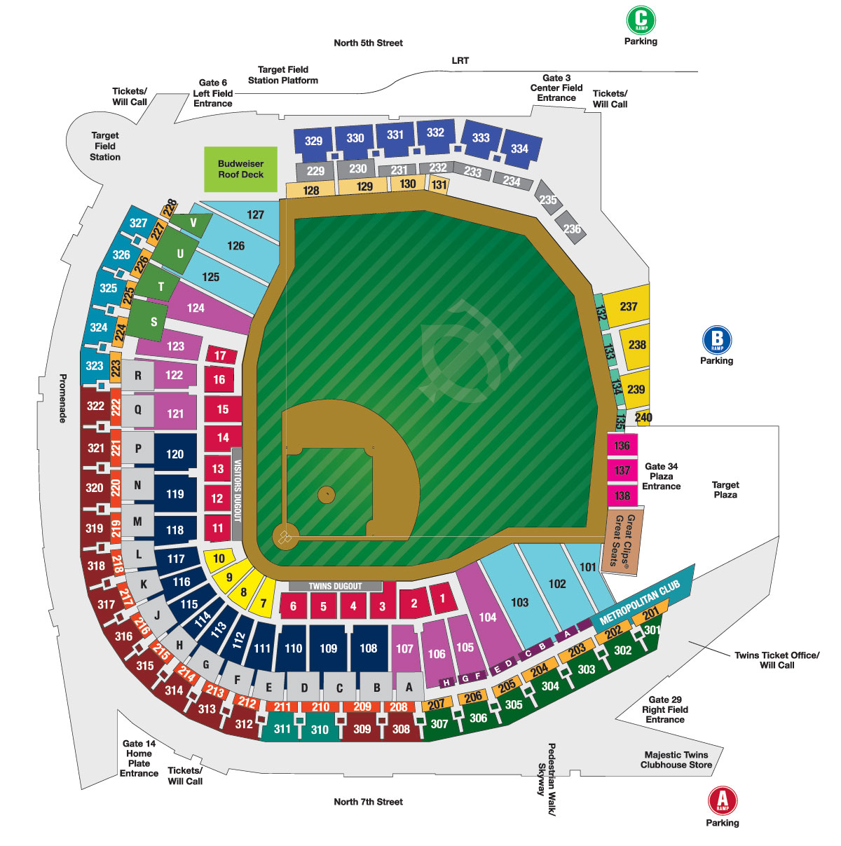 Target Field Seating Map