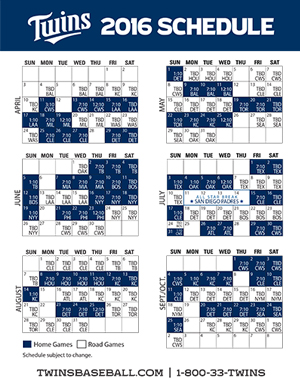 Twins Printable Schedule