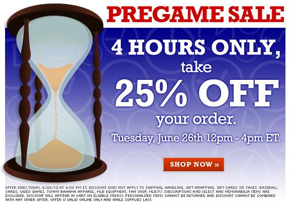 25% sale at MLB shop, sale ends 6/26/12 4pm ET