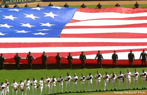 ed813d3f1b2 Ballparks go silent to honor victims of Sept. 11. For a few brief moments  Wednesday