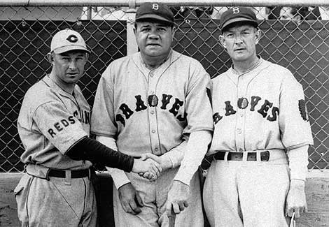 Babe Ruth Appearing With The Boston Braves For First Time On March 9 1935 Center Chats Charley Dressen Left Reds Manager And Bill