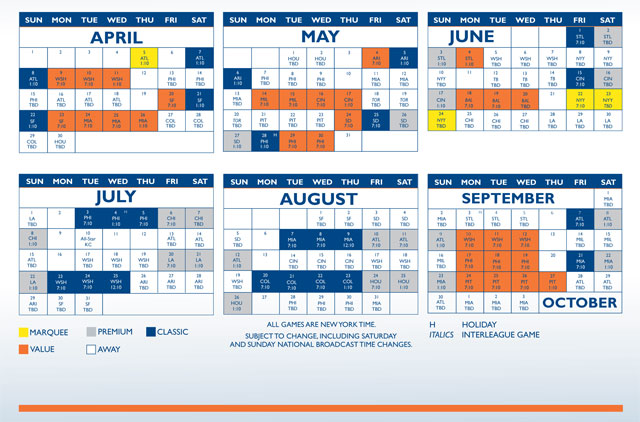 2012 Season Ticket Holder Schedule