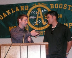 A's catcher Kurt Suzuki is interviewed.