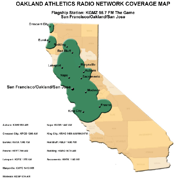 Athletics Radio Network Coverage Map