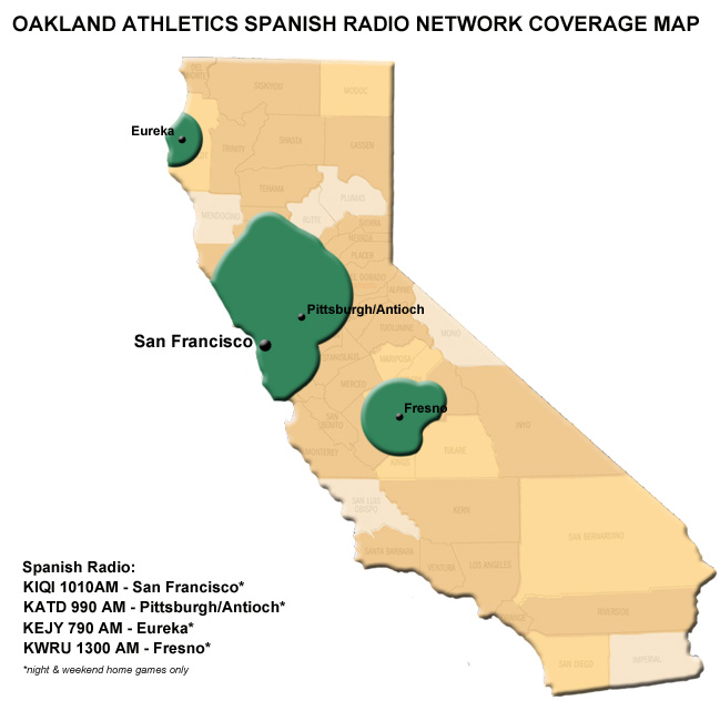 Athletics Spanish Radio Network Coverage Map